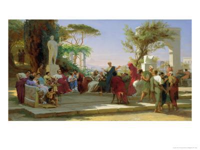 Horatius Reading His Satires to Maecenas, 1863-Fedor Andreevich Bronnikov-Giclee Print
