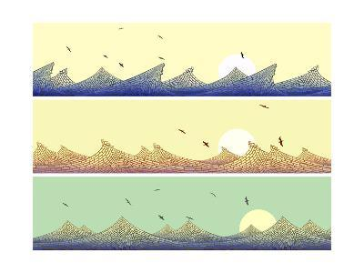 Horizontal Banner: Mosaic of Wave with Foam-Vertyr-Art Print