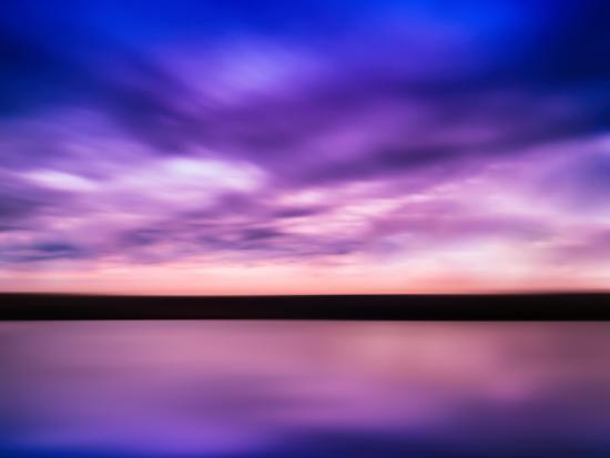 Horizontal Vivid Pink Purple River Sunset with Reflection Horizo-Nickolay Loginov-Photographic Print
