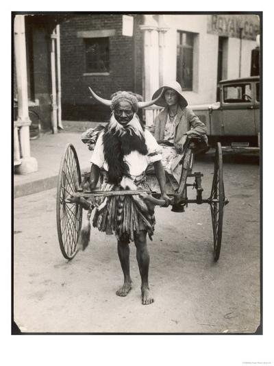 Horned Rickshaw Man in Bulawayo Southern Rhodesia--Giclee Print