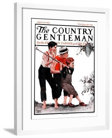 """Hornets' Nest,"" Country Gentleman Cover, August 25, 1923-WM. Hoople-Framed Giclee Print"