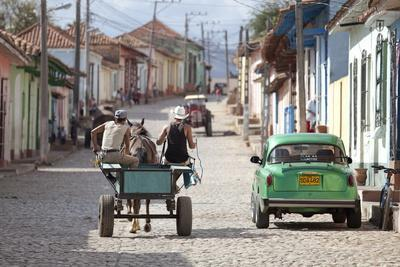 Horse and Cart and Vintage American Car on Cobbled Street in the Historic Centre of Trinidad-Lee Frost-Photographic Print