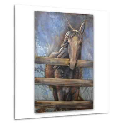 Horse and fence--Metal Wall Art