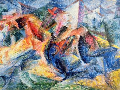 Horse and Rider and Buildings, 1914-Umberto Boccioni-Giclee Print