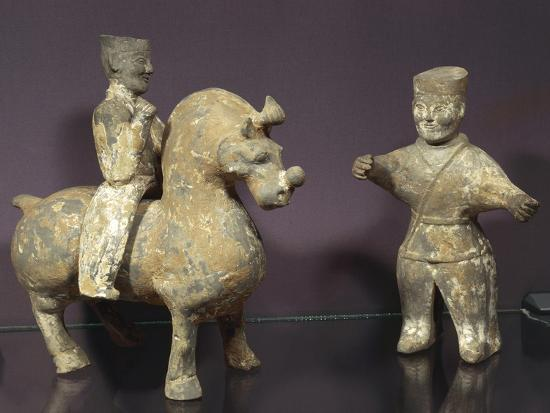 Horse and Rider with Groom, Painted Terracotta Statues, China, Wu Kingdom, 3rd Century--Giclee Print