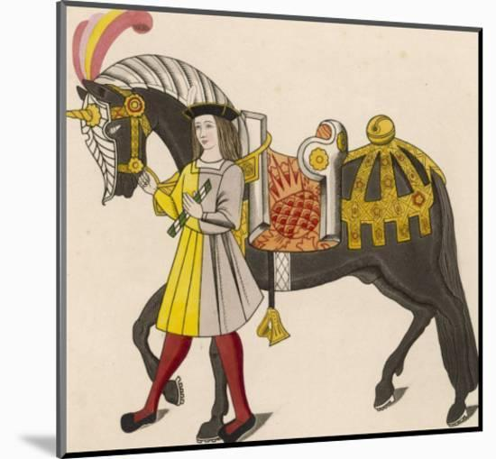 Horse Caparisoned (Dressed in Elaborate Harness Equipment) in Preparation for a Tournament-Henry Shaw-Mounted Giclee Print