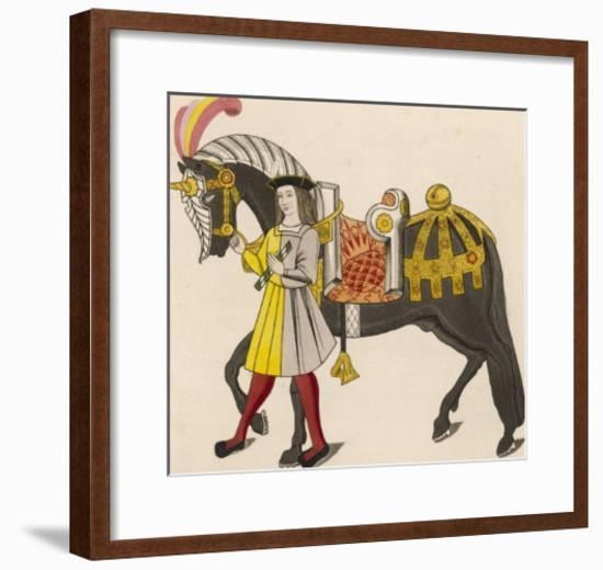 Horse Caparisoned (Dressed in Elaborate Harness Equipment) in Preparation for a Tournament-Henry Shaw-Framed Giclee Print