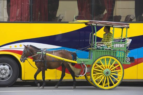 Horse Cart Walk by Colorfully Painted Bus, Manila, Philippines-Keren Su-Photographic Print