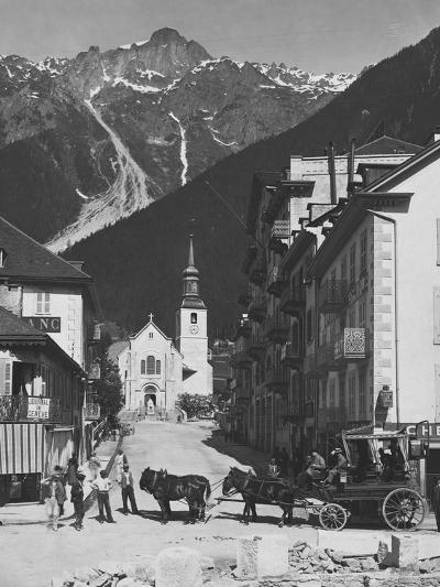 Horse-Drawn Carriage in Chamonix--Photographic Print