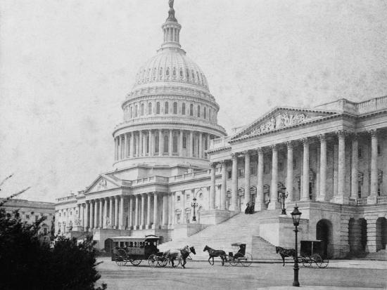 Horse-Drawn Carriages at U. S. Capitol--Photographic Print