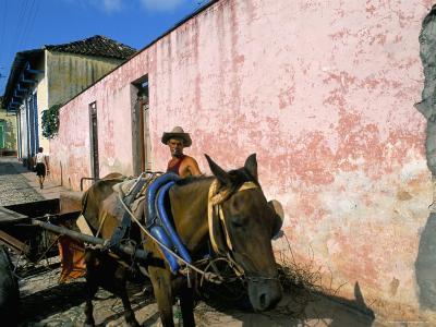 Horse-Drawn Cart in Street of the Colonial City, Trinidad, Sancti Spiritus Region, Cuba-Bruno Barbier-Photographic Print