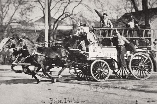 Horse-drawn fire engine, Boise, Idaho, USA, c1900-Unknown-Photographic Print
