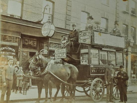 Horse-Drawn Omnibus and Passengers, London, 1900--Photographic Print