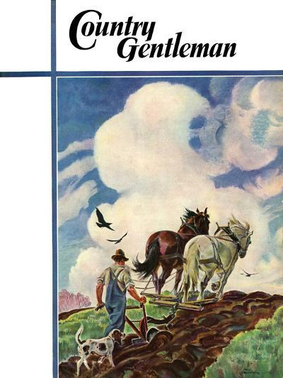 """""""Horse-Drawn Plow,"""" Country Gentleman Cover, March 1, 1939-Paul Bransom-Giclee Print"""