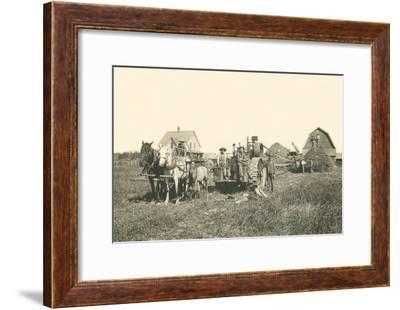 Horse-Drawn Tractor--Framed Art Print