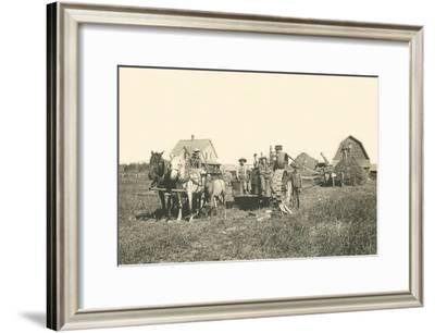 Horse-Drawn Tractor--Framed Art Print