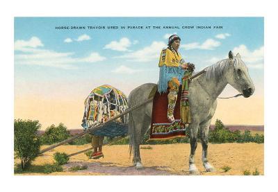 Horse-Drawn Travois, Crow Indian Fair--Art Print
