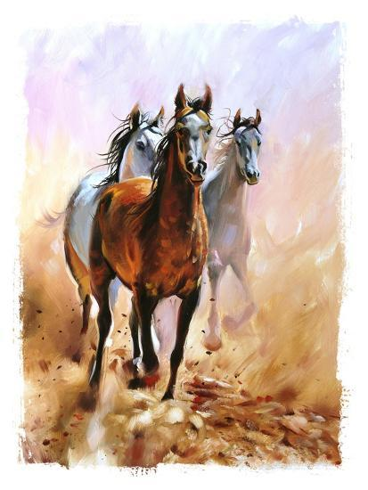 Horse Equestrian Passion Oil Painting Torn Edges-Marc Little-Art Print