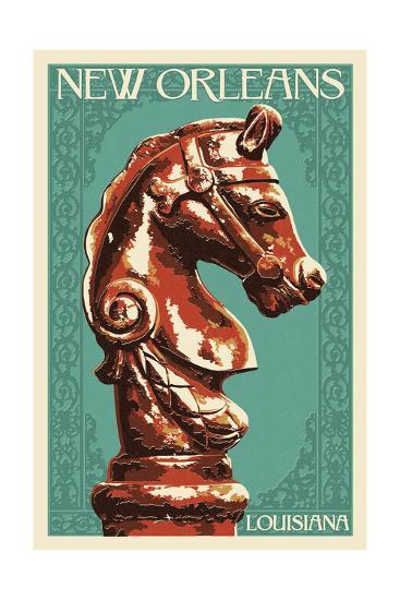 Horse Head Hitch - New Orleans, Louisiana-Lantern Press-Art Print