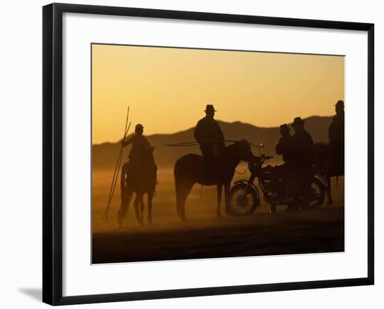 Horse Herders Returning Home after a Horse Festival in Karakorum, Hangai Province, Mongolia-Paul Harris-Framed Photographic Print