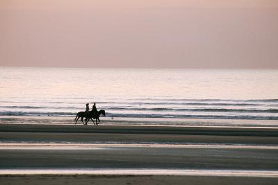 Horse Horseback Riding on Beach by Sunset--Photographic Print