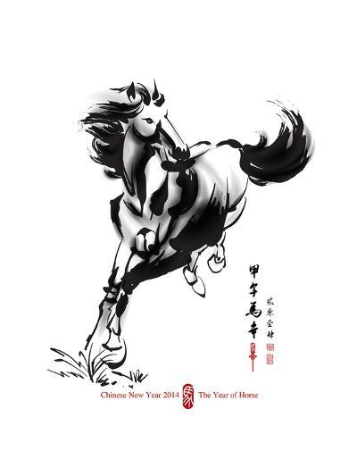 Horse Ink Painting, Chinese New Year 2014. Translation: Year Of Horse-yienkeat-Art Print