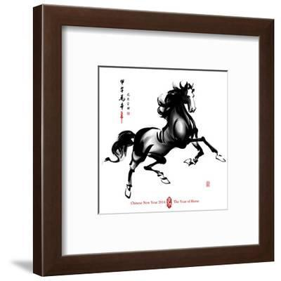 Horse Ink Painting, Chinese New Year 2014. Translation: Year Of-yienkeat-Framed Art Print