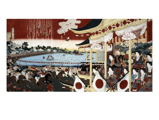Horse Race in Ueno Park, Japanese Wood-Cut Print-Lantern Press-Art Print