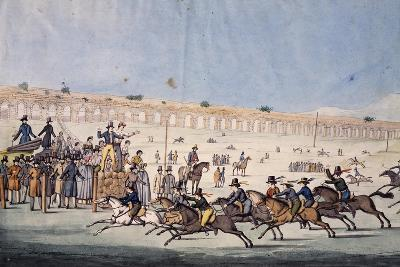 Horse Racing at Capannelle in Rome, Italy, 19th Century--Giclee Print