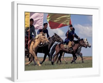 Horse Racing at Nadaam, Mongolia-Keren Su-Framed Photographic Print