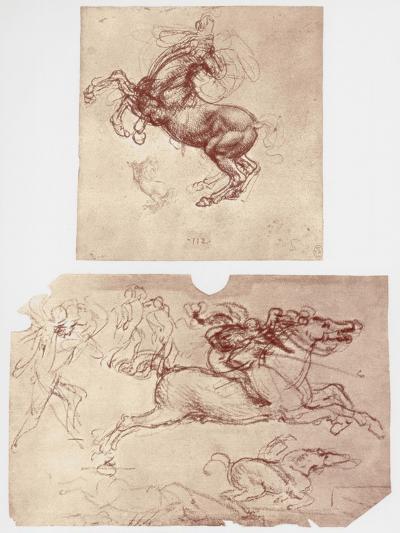 Horse Rearing, and Horsemen and Foot-Soldiers, C1504-Leonardo da Vinci-Giclee Print