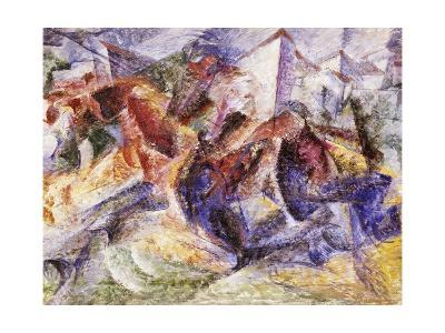 Horse, Rider and Buildings, 1914-Umberto Boccioni-Giclee Print