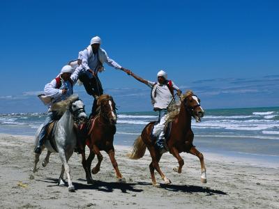 Horse Riding Acrobatics at Traditional Berber Wedding, Djerba Island, Medenine, Tunisia-Ariadne Van Zandbergen-Photographic Print