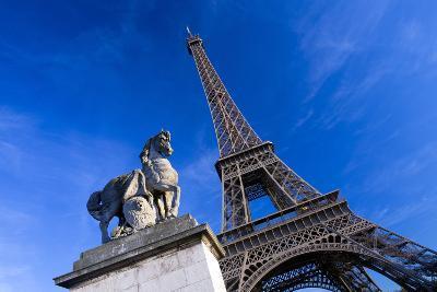 Horse Sculpture on Lena Bridge Near to Eiffel Tower in Paris, France, Europe-Peter Barritt-Photographic Print