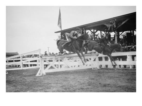 Horse Show In Washington Dc; Horses Jump Fence--Art Print