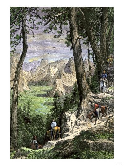 Horseback Riders Descending into Yosemite Valley, 1870s--Giclee Print