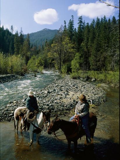 Horseback Riders Stand in Coffee Creek-Phil Schermeister-Photographic Print