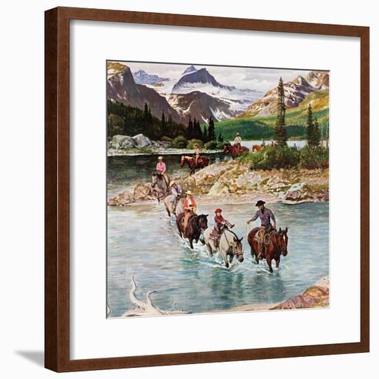 """Horseback Riding in Glacier Park,"" July 30, 1960-John Clymer-Framed Giclee Print"