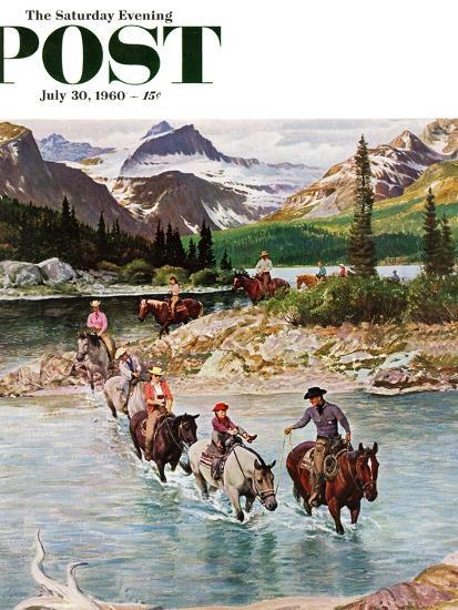 """Horseback Riding in Glacier Park,"" Saturday Evening Post Cover, July 30, 1960-John Clymer-Premium Giclee Print"