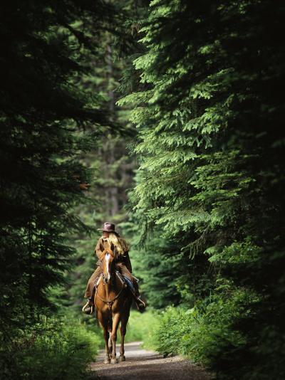 Horseback Riding on an Emerald Lake Lodge Bridle Trail-Michael Melford-Photographic Print