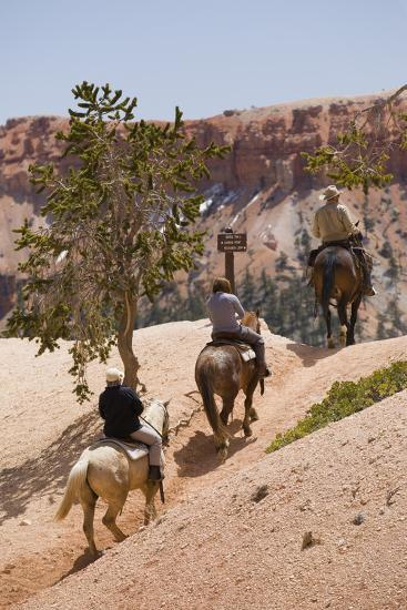Horseback Riding Through Bryce Canyon National Park, Utah, United States of America, North America-Garry Ridsdale-Photographic Print