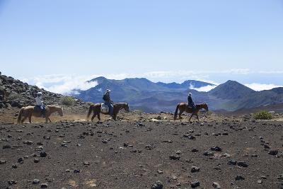 Horseback Trail Ride, Haleakala National Park, Maui, Hawaii, USA-Douglas Peebles-Photographic Print