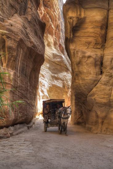 Horsecart in the Siq, Petra, Jordan, Middle East-Richard Maschmeyer-Photographic Print