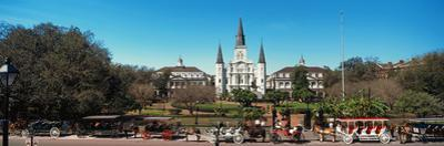 Horsedrawn Carriages on the Road with St. Louis Cathedral in the Background, Jackson Square