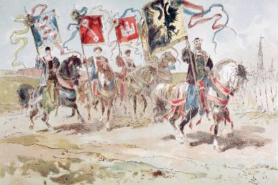 Horsemen Carrying Banners of the Hanseatic League and of Towns Belonging to the League-Armand Jean Heins-Giclee Print