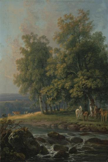 Horses and Cattle by a River, 1777-George the Elder Barret-Giclee Print