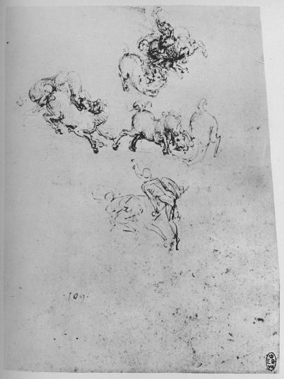 'Horses and Horsemen in Combat', c1480 (1945)-Leonardo da Vinci-Giclee Print