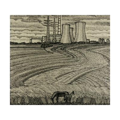 Horses and Industrial Landscape, 1979-Masabikh Akhunov-Giclee Print