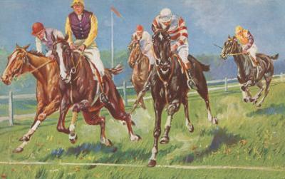 Horses and Jockeys in Steeplechase
