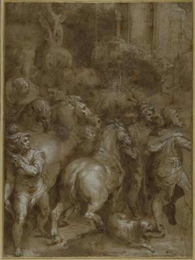 Horses and Men, Facing Right-Taddeo Zuccaro-Giclee Print